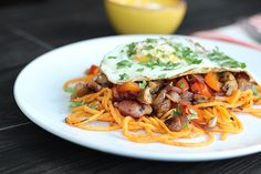 3. Fried Egg on a Bacon & Veggie Scramble with Sweet Potato Noodles