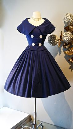 Vintage 1950s Navy Blue Sailor Dress with Full Skirt and Shawl Collar