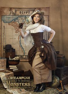 Spirited Steampunk Adventurer (women's steampunk explorer/adventurer/safari costume with khaki/tan skirt, brown corset, hat, scarf, goggles) - For costume tutorials, clothing guide, fashion inspiration photo gallery, calendar of Steampunk events, & more, visit SteampunkFashionGuide.com