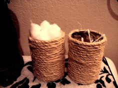 DIY bathroom organizers. sisal rope + old soup cans +hot glue. Cute, chill cotton ball and cotton swab organizers! Love them.