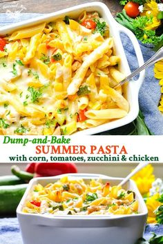 Dump-and-Bake Summer Pasta with Corn, Zucchini, Tomatoes, and Chicken is an easy and healthy dinner recipe! recipes dinner Dump-and-Bake Summer Pasta with Zucchini, Corn & Chicken Healthy Summer Recipes, Healthy Pastas, Summer Pasta Recipes, Recipes Dinner, Healthy Dishes, Clean Eating Snacks, Healthy Eating, Corn Chicken, Chicken Zucchini Pasta