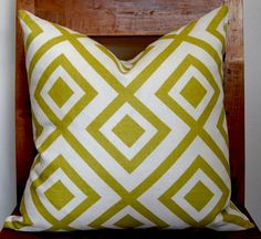 Green and White Pillow Cover $62