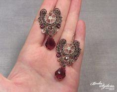 Silver and purple STEAMPUNK EARRINGS  wire wrapped earrings gear earrings dangle earrings elegant steampunk earrings steampunk jewelry by bodaszilvia