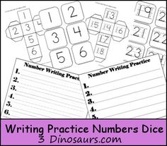 Free Writing Practice Number Dice - 3Dinosaurs.com
