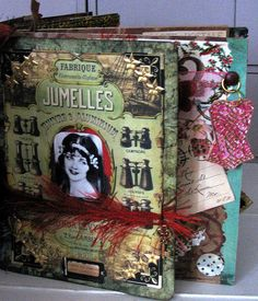 Paris paper bag book - more vintage images, threads and embellishments. |Pinned from PinTo for iPad|
