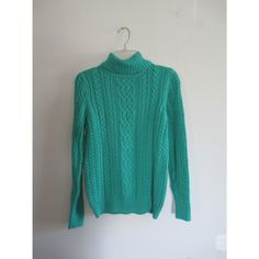 Vintage Croft & Barrow Aqua Blue Festival Cable Knit Sweater Turtleneck Sz Medium