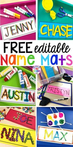 FREE Editable Name MATS perfect to use all over the classroom to help preschool, pre-k, and kindergarten kiddos learn their names. #names #preschool #learnnames #pre-k #namecards Name Writing Activities, Name Activities Preschool, Kindergarten Names, Preschool Learning Activities, Kindergarten Classroom, Preschool Activities, Kindergarten Literacy Centers, Preschool Center Signs, Preschool Name Recognition