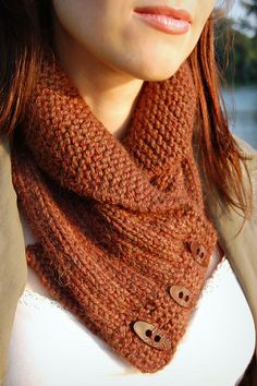 shawl collared cowl by Alana Dakos of Never Not Knitting. One of these days I'll buy the pattern and make a few of these!