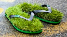 "A bizarre new range of flip-flops gives people the chance to experience the feeling on walking bare-footed on grass.    Australian footwear company KUSA has reported ""amazing"" sales after launching flip-flops featuring fake turf stitched onto the soles.    The company's website says: ""Love the feeling of bare feet on freshly mowed grass?"