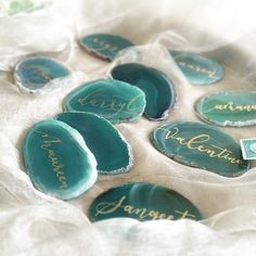 Agate Wedding Calligraphy Place Cards Green by inLoftCalligraphy