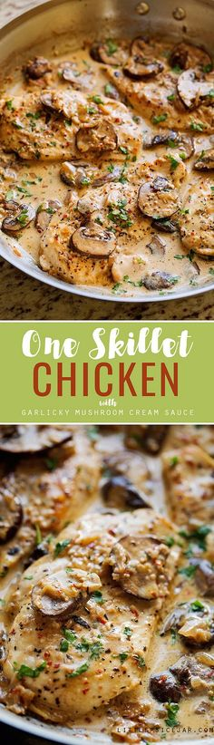 One Skillet Chicken with Lemon Garlic Cream Sauce Recipe | Little Spice Jar