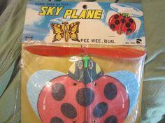 Vintage Sky Plane Pee Wee bug ladybug kite airplane by kookykitsch