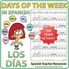 Spanish Days of the Week Worksheets – The trains -   Actividad con los días de la semana en español – Los trenes
