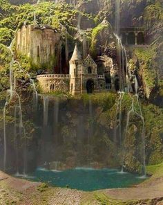 The Waterfall Castle in Poland: The castle-like building is real and sits beside a busy road in Budapest, Hungary. No lush vegetation, no waterfall. Beautiful job though.