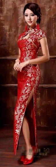 Dragon pattern bridal cheongsam
