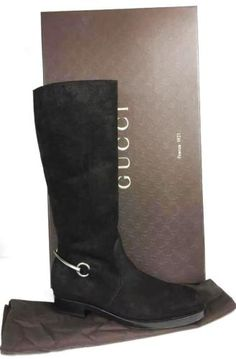 Woman's Gucci Tall Boots Silver Bit Buckle  Suede Susan 41 US 11 NIB