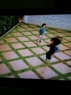 This is an awesome driveway idea... Might work on a smaller scale for a garden path, too. Thanks, Disney Channel ;)