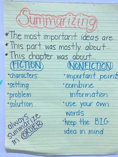 Teaching and Tapas Summarizing Anchor Chart, Summary Anchor Chart, Summarizing Activities, 6th Grade Ela, 4th Grade Reading, Grade 2, Third Grade, Reading Strategies, Reading Skills