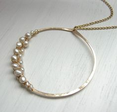 XXX Pearl Woven Hammered Circle Necklace by SarahHickeyJewellery, $115.00