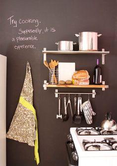 #kitchen shelving and chalkboard wall