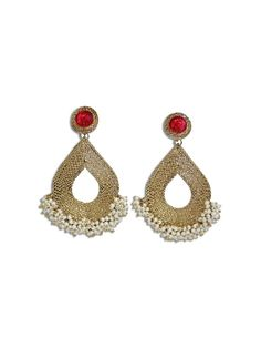 JAIPUR PEARL TEAR DROPS by designer Sobayha Accessories from sobayha.com. Textured antique gold teardrop earrings, with a coloured jewel stud, a large pearl middle and clustered pearl edging. Available in Pink, Red, Black, Orange & Green. See more at: https://www.sobayha.com/catalogue/jaipur-pearl-tear-drops_133/