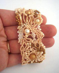 Seed bead bracelet, Beadwork bracelet, Freeform peyote Beaded Cuff Bracelet, Handmade bracelet, pastel