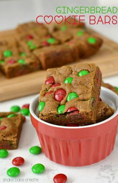 Gingerbread Cookie Bars - perfect for Christmas with M&Ms!