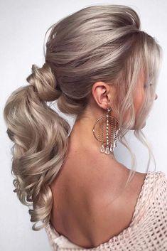 Blonde Ponytail, Messy Ponytail, Formal Ponytail, Messy Hair, Medium Hair Styles, Curly Hair Styles, Elegant Ponytail, Ponytail For Wedding, Simple Elegant Hairstyles