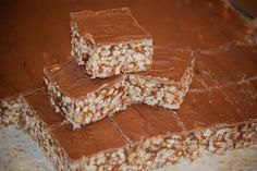 Date and rice bubble slice/bars (with chocolate).