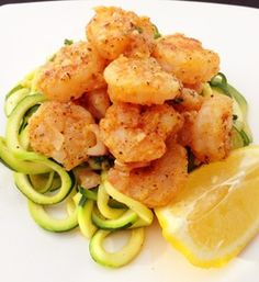 """Paleo shrimp scampi with a lemon garlic sauce -Pinner said """"The fried shrimp was wonderful! However, there was way, way too much lemon juice and I couldn't finish my zucchini noodles because it was just so tart and sour. Next time, I'll cut way back on the lemon juice and use a lot more butter to saute up the zucchini noodles. Will try again."""""""