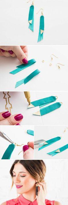 comment fabriquer des boucles d oreilles, des bijoux en cuir bleu, idée pour un bijou femme fantaisie