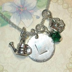 Gardening Hand Stamped Sterling Silver Initial Charm Necklace by #DolphinMoonCreations #gardenlover #initialcharmnecklace
