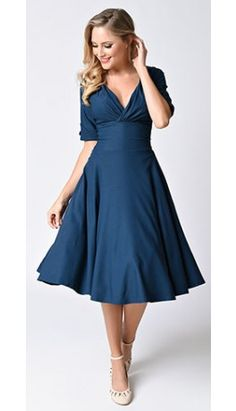 Unique Vintage 1950s Style Dark Teal Half Sleeve Delores Swing Dress