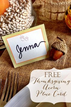 Thanksgiving Table Place Card | Free Printable