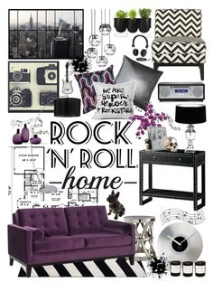 """""""Rock N Roll Home Decor"""" by crystal85 ❤ liked on Polyvore featuring interior, interiors, interior design, home, home decor, interior decorating, Bungalow 5, Arteriors, Safavieh and Armen Living"""