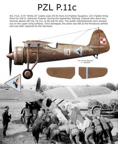 PZL P.11c Luftwaffe, Ww2 Aircraft, Military Aircraft, Flying Ace, Aircraft Painting, Ww2 Planes, Parasol, Nose Art, War Machine