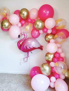 Fiesta Discover Flamingo Balloon Garland Kit Balloon Garlands Tropical Bachelorette Hot Pink and Gold Fuchsia Balloon Garland Lets Flamingle Flamingo Party, Flamingo Baby Shower, Flamingo Birthday, Luau Birthday, Birthday Parties, Balloon Arch Diy, Balloon Garland, Balloon Balloon, Hawaiian Party Decorations