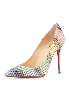 Decollete Snakeskin Red Sole Pump, Blue/Multi by Christian Louboutin at Bergdorf Goodman.