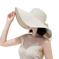 f9ed0dcf61884 Sun Hats for Women Summer Wide Brim Beach Hat Packable Straw Hat UV UPF 50+  Protection Floppy Hat Beige