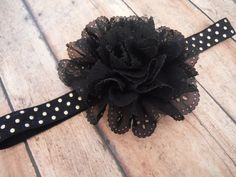 Black and Gold Headband Black Eyelet Flower by CharmingLittleBaby