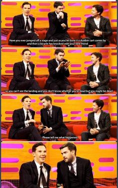 "Benedict Cumberbatch "" Thanks Jack Whitehall for trying"". "" You almost had him!"". Lol"