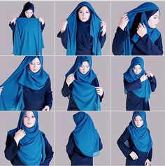 Find our latest new hijab styles 2020 step by step. Learn how to take hijab without a pin. You will be helped out in learning by making a tutorial series of taking hijab. See chest covering hijab style for girls and much more. Tutorial Hijab Modern, Square Hijab Tutorial, Hijab Style Tutorial, How To Wear Hijab, Ways To Wear A Scarf, How To Wear Scarves, Hijab Chic, Stylish Hijab, Hijab Niqab