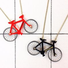 To celebrate the launch of #CycleRevolution at @designmuseum we've created NEW Bicycle Necklaces! Online and in store now. Red or black which one is your fave?  #TattyDevine #bicycle #cycle by tattydevine You can follow me at @JayneKitsch
