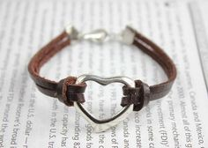 brown leather bracelet with silver heart charm