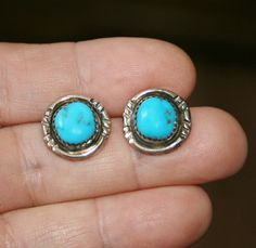 Vintage Pawn Turquoise Button Post Earrings, Plus Free USA Shipping! by Route66Diner on Etsy