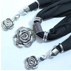 Triple Flower Pends Jewelry Scarf for Women-Flower Pendants