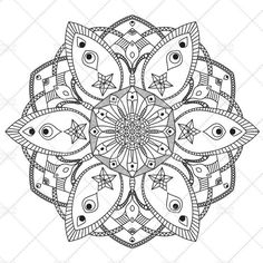 Printable Mandala Coloring Page for Adults N.1   Adult Coloring   A4, A3, Letter, legal, tabloid PDF #etsy #mandala #printable   Mandala in black and white to print and color for kids and adults. It's useful for family fun and to relieve stress with color therapy.