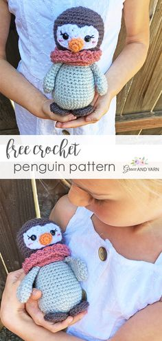 Free Small Crochet Penguin Pattern - Grace and Yarn - Pin Crochet Penguin, Crochet Animals, Yarn Animals, Crochet Amigurumi Free Patterns, Crochet Dolls, Crochet Yarn, Ravelry Crochet, Crochet Food, Knitted Dolls