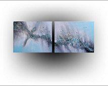 Texture Turquoise moderne Original peinture Art abstrait - 16 x 40-Skye Taylor