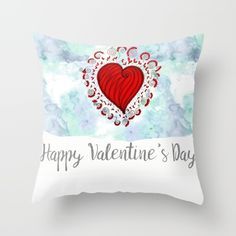 Watercolor zen style love heart Throw Pillow Love bears all things, believes all things, hopes all things, endure all things, LOVE NEVER ENDS Happy Valentine's day